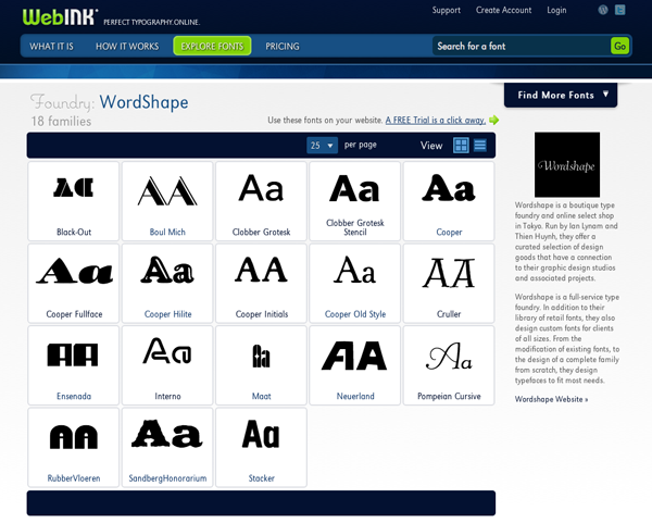 Wordshape webfonts now on Web Ink