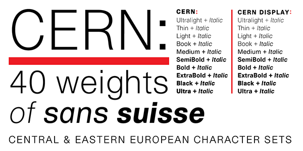 Cern typeface family by Ian Lynam