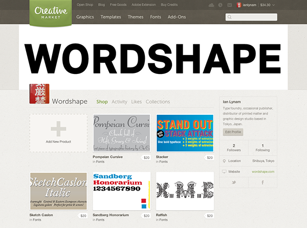 Wordshape type foundry at Creative Market
