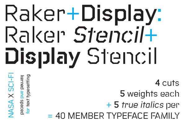 Raker typeface family