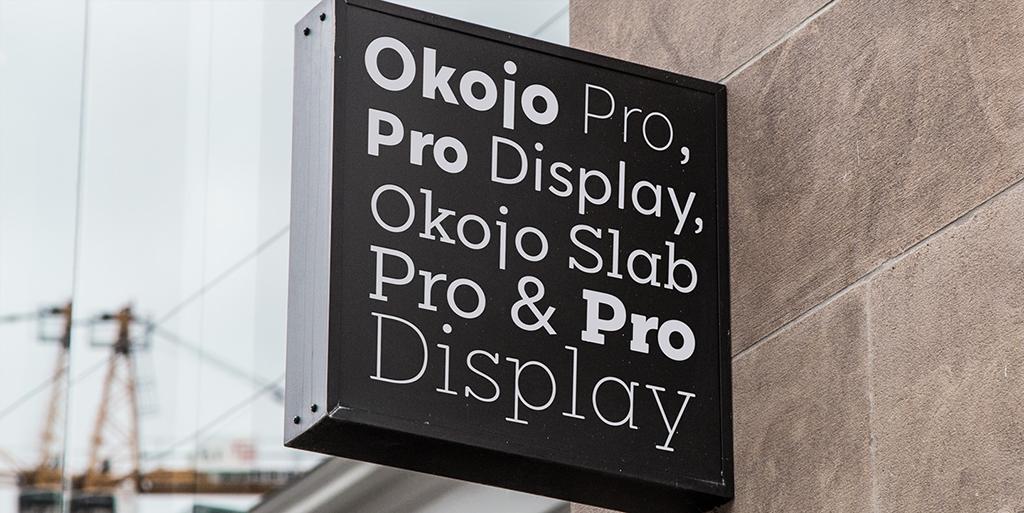 Okojo Slab Pro and Okojo Pro font family by Ian Lynam